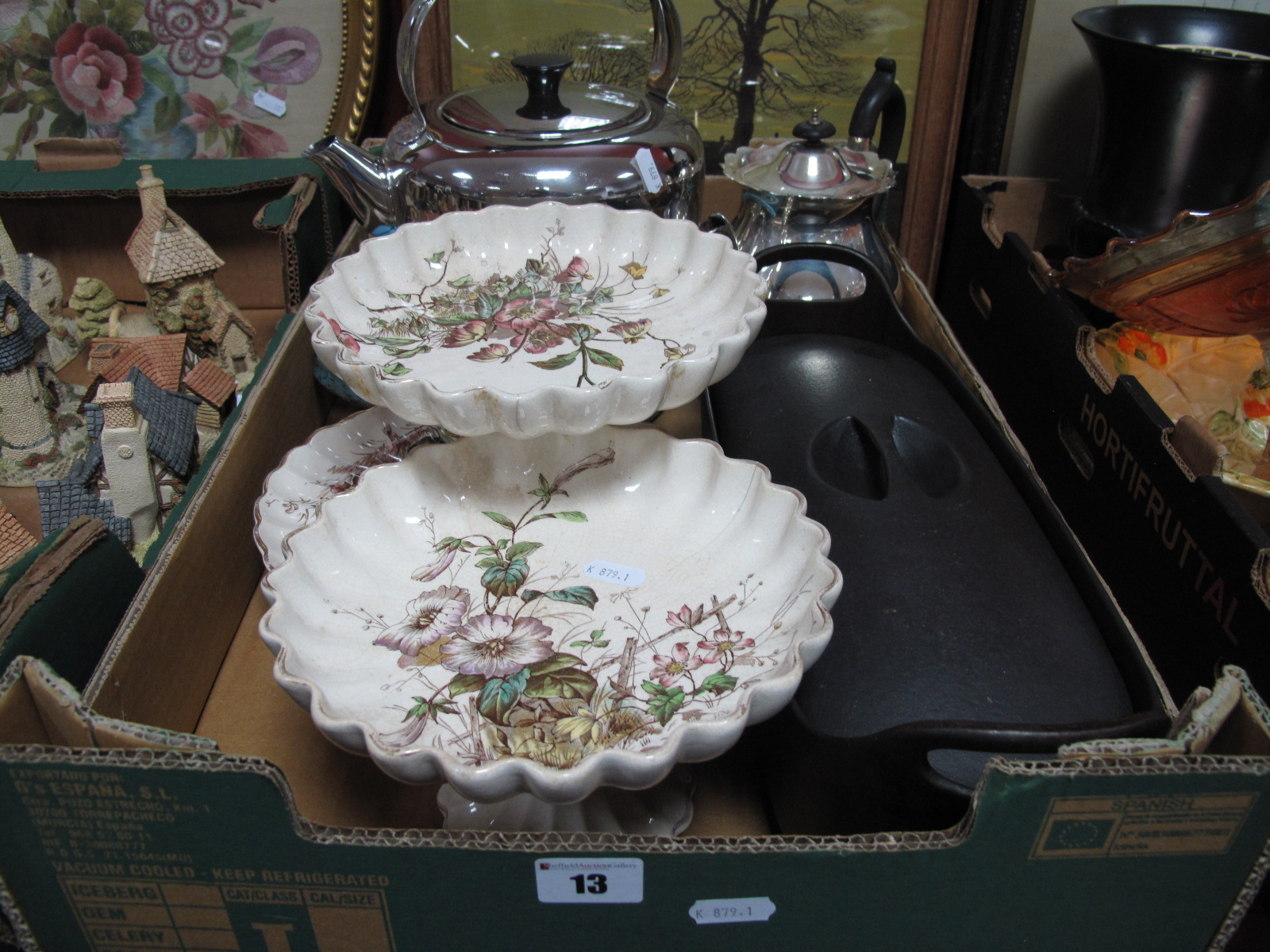 Lot 13 - A Victorian Part Dessert Service ('Flora' Design by S. Hancock), an EPNS teapot, fish kettle, Aga