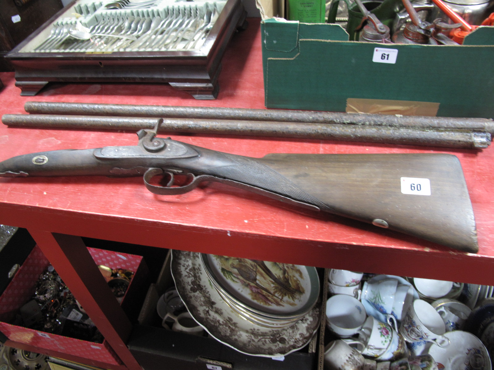 Lot 60 - Components of a XIX Century Percussion Gun, including lock, stock and two barrels, engraved '