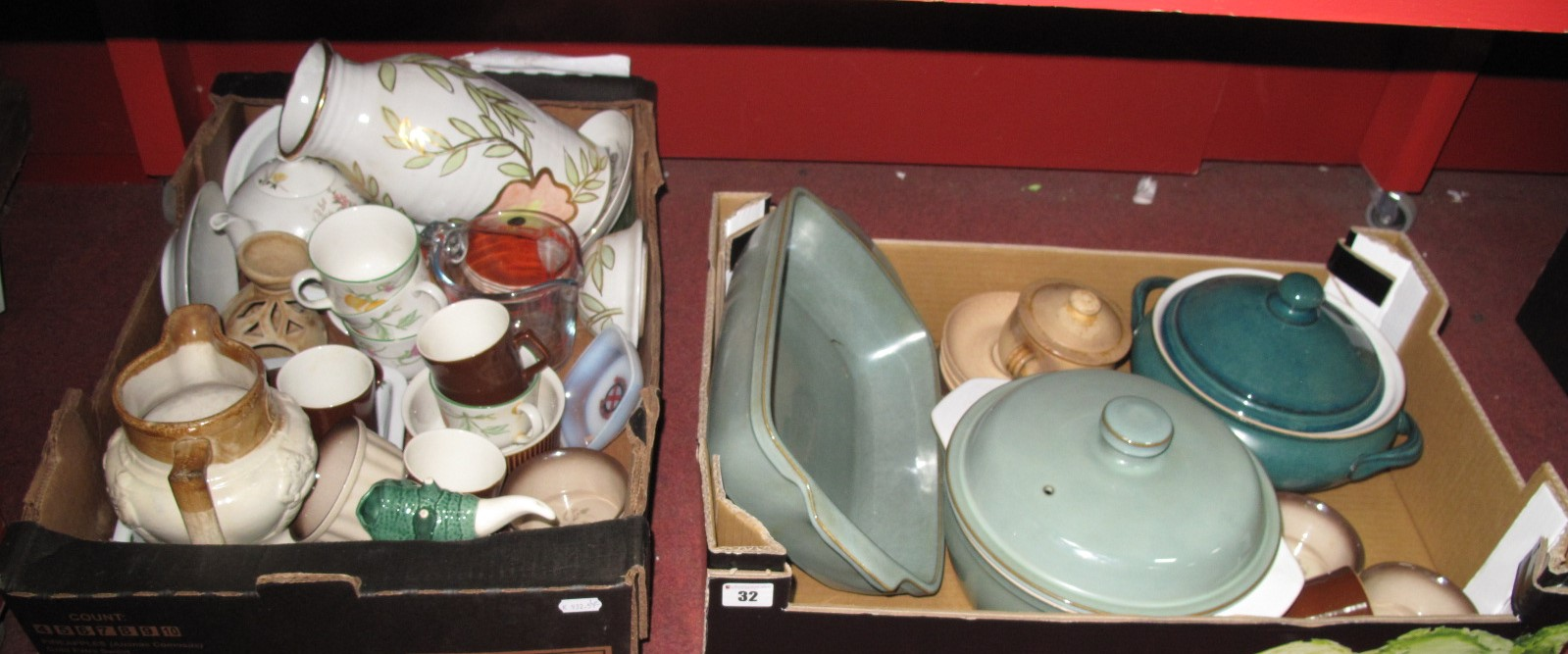 Lot 32 - Denby Ware Tureens, XIX Century Jug, (damage), Ridgeway teapot, etc:- Two Boxes