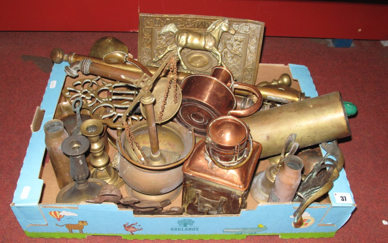 Lot 37 - Brass Trivets, copper watering can, First World War brass shell, etc:- One Box.