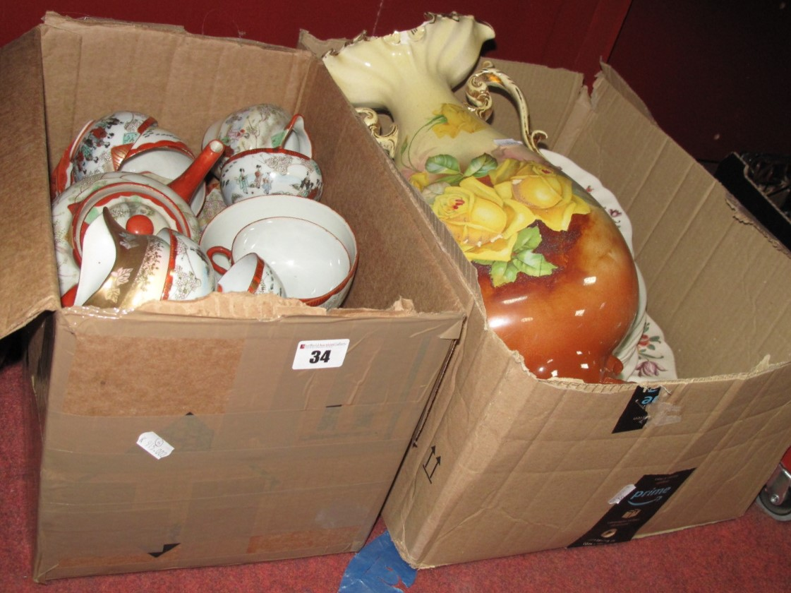Lot 34 - Royal Doulton Old Leeds Sprays and Other Dinner Ware, 'Oxford' jardiniere, vase, Japanese tea