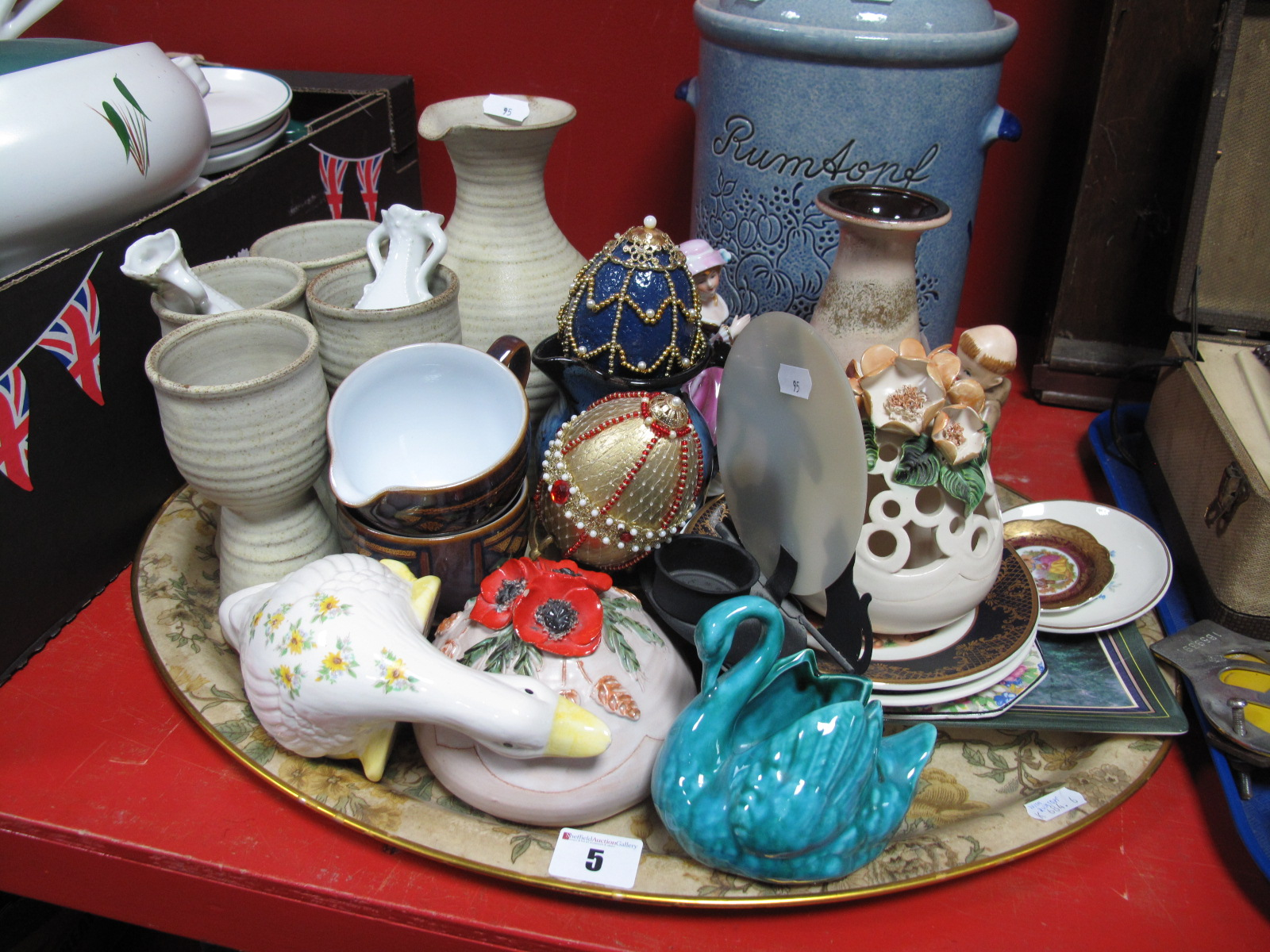 Lot 5 - Studio Pottery Stoneware Carafe and Four Goblets, Scheurich vase, decorative pottery, etc:- One Tray