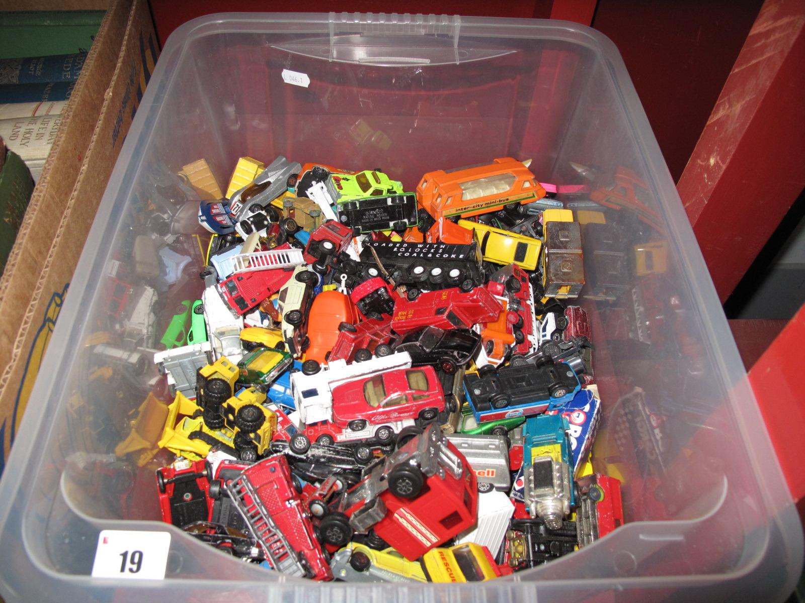 Lot 19 - A Collection of Over 100 Playworn Diecast Vehicles, including Matchbox, Corgi, Majorette, etc:-