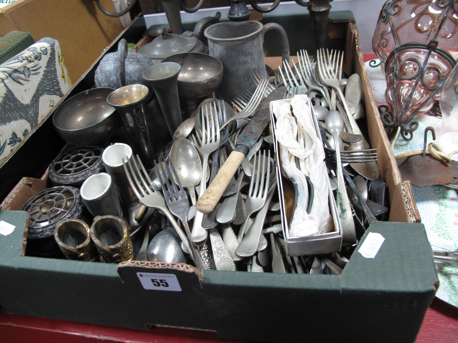 Lot 55 - Three 3x Branch Electroplated Candelabra, loose plated cutlery, teapot, tankard and other plated