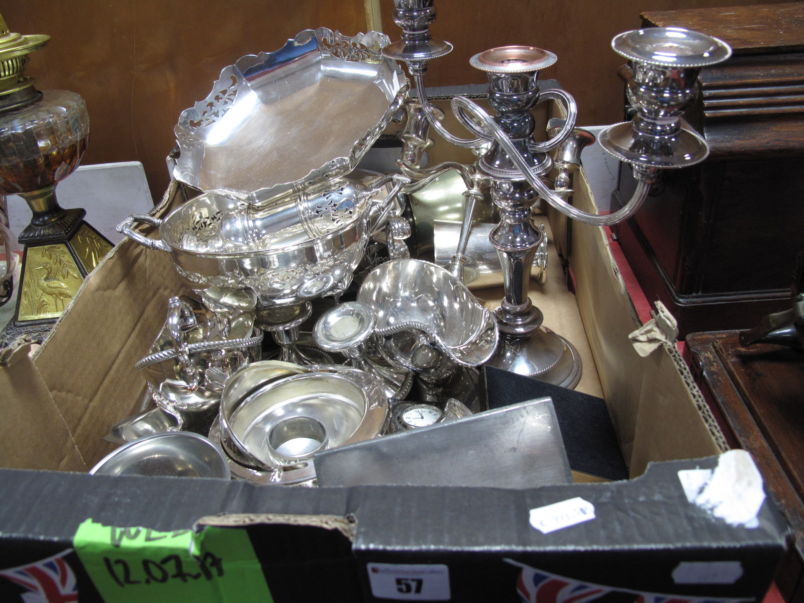 Lot 57 - A Mixed Lot of Assorted Plated Ware, including candelabrum, pedestal dish, sugar sifter, twin
