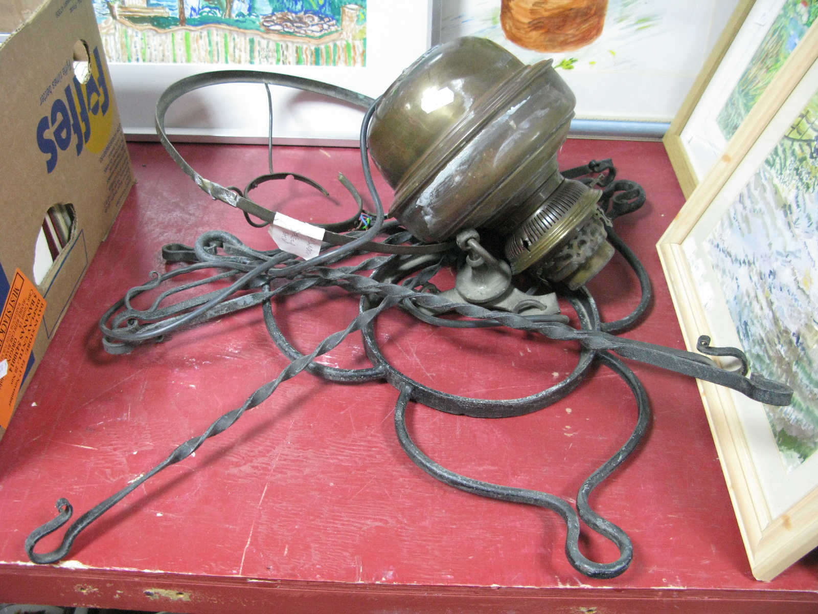 Lot 43A - A Brass Hanging Lamp, converted to electricity with iron supports.