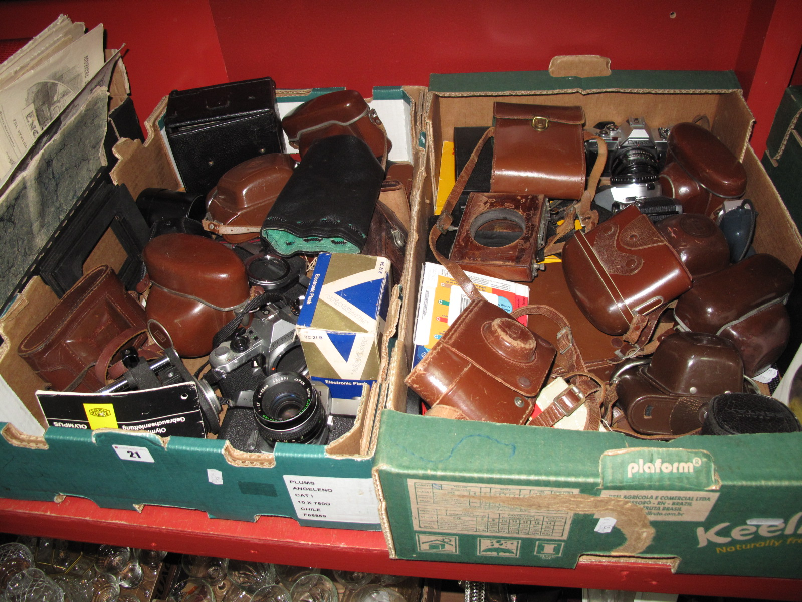 Lot 21 - Cameras - Yaschica TL Electro, Purma Plus, Zeiss Ikon, Canon, Pentax, etc:- Two Boxes.