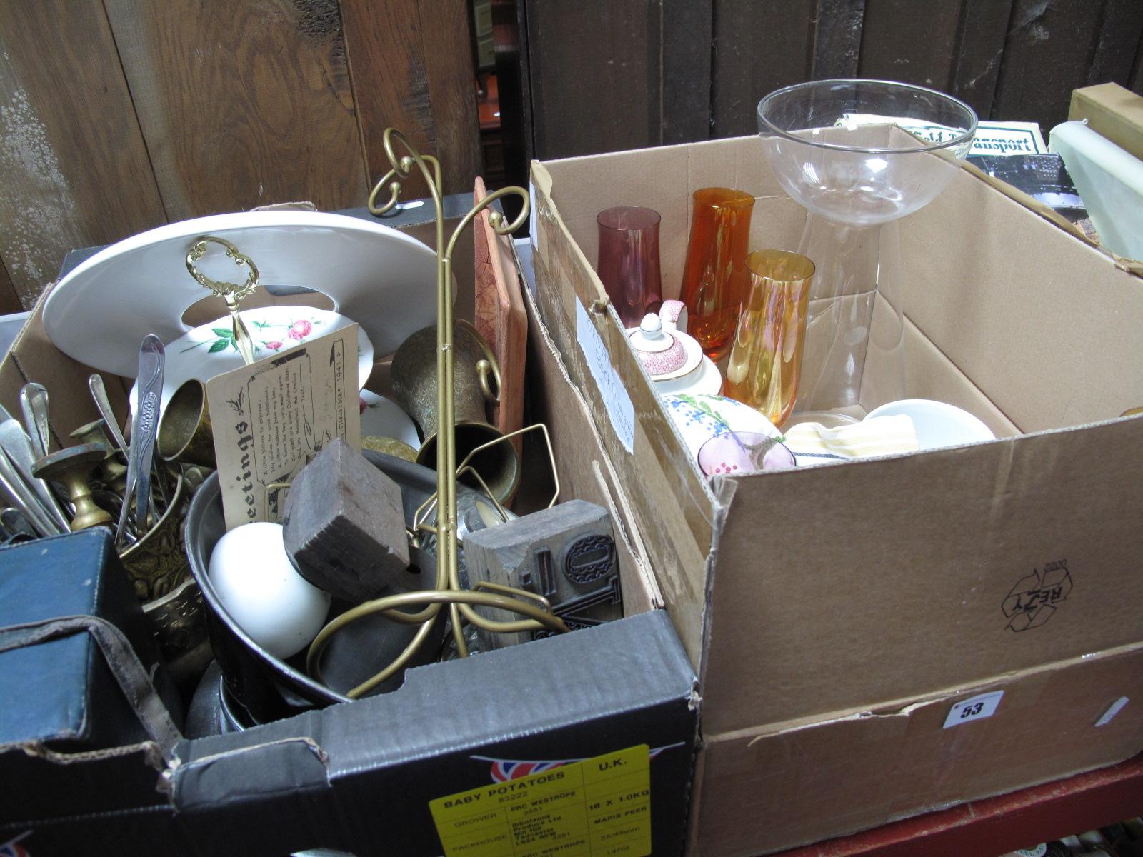 Lot 53 - A Gas Mask, printing blocks, metal wares, Ridgeway pottery, glassware, etc:- Two Boxes