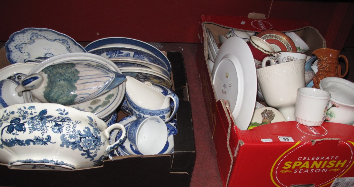 Lot 33 - Willow Pattern Plates, other blue and white china, together with leather box of mixed china, etc:-