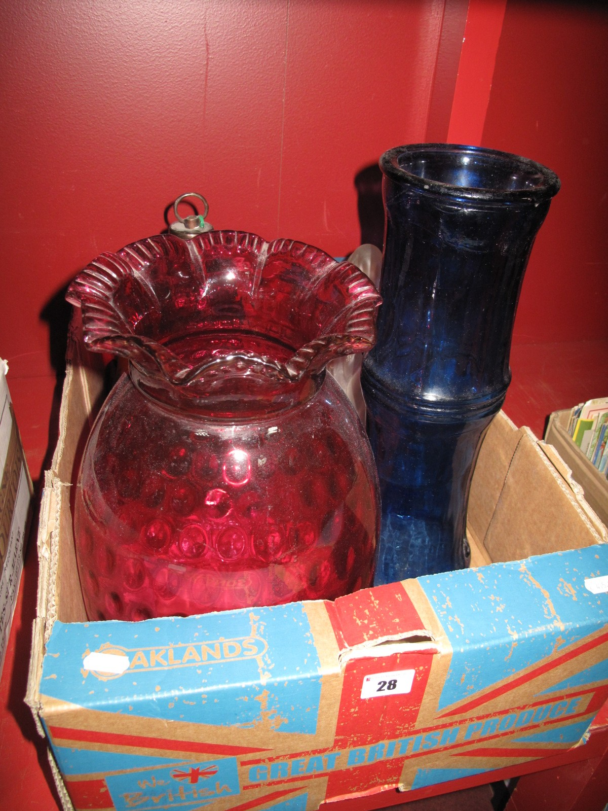 Lot 28 - XIX Century Cranberry Glass Oil Lamp Glass shade, blue glass ceiling light with crackle