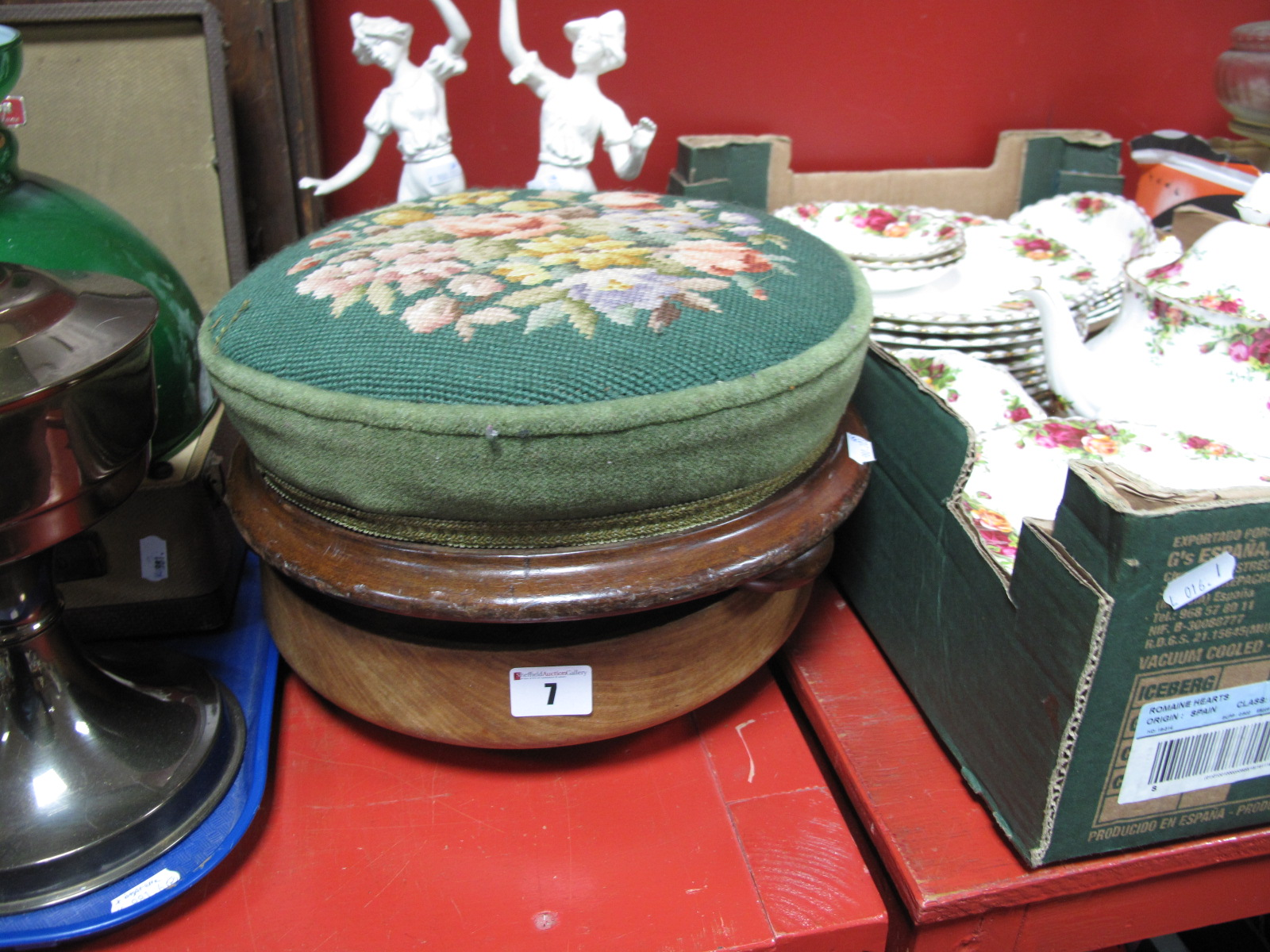 Lot 7 - A XIX Century Shaped Foot Stool, with upholstered top, on mahogany bun feet; together with a pair of