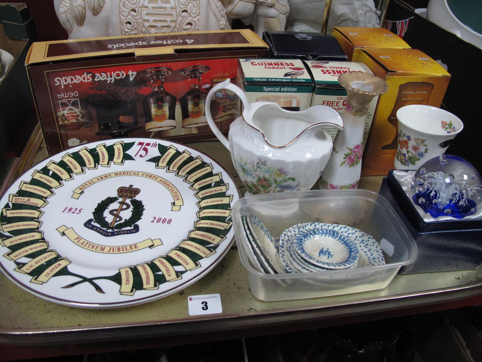 Lot 3 - Nine XIX Century Hand Painted Dolls Dinner Plates, Aynsley ceramics, Army Medical Corps plates,