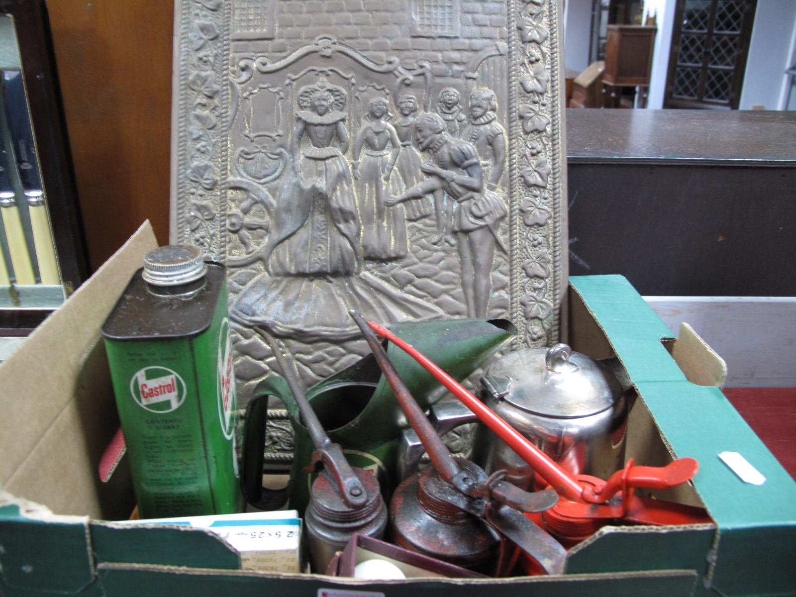 Lot 61 - Castrol and Other Oil Cans, plated teapot, brass plaque, small billiard balls, opera glasses, impact
