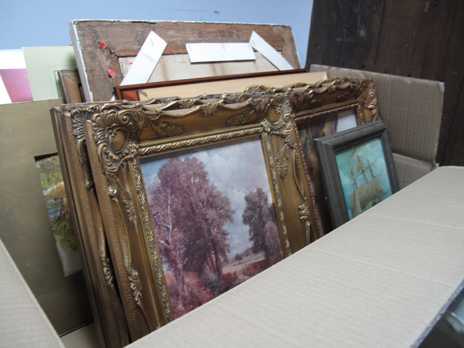 Lot 47 - A Quantity of Prints, Watercolours, Oil:- One Box
