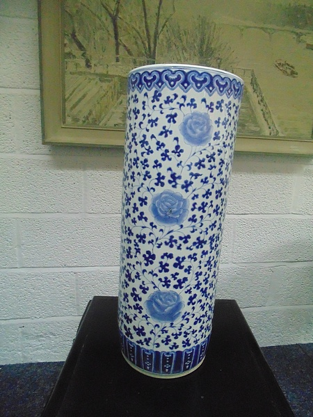 Lot 446 - A Vibrantly Patterned Umbrella Cane Stand Cylindrical 600mm Adapted From Botanical Studies Green And