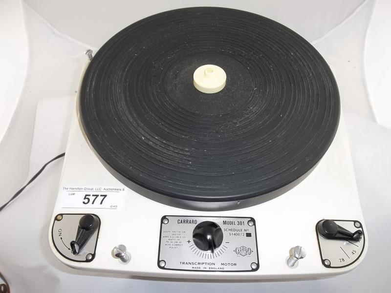 Lot 577 - Garrard model 301 turntable, made in England, schedule # 51400/1, no base, no arm, transcription