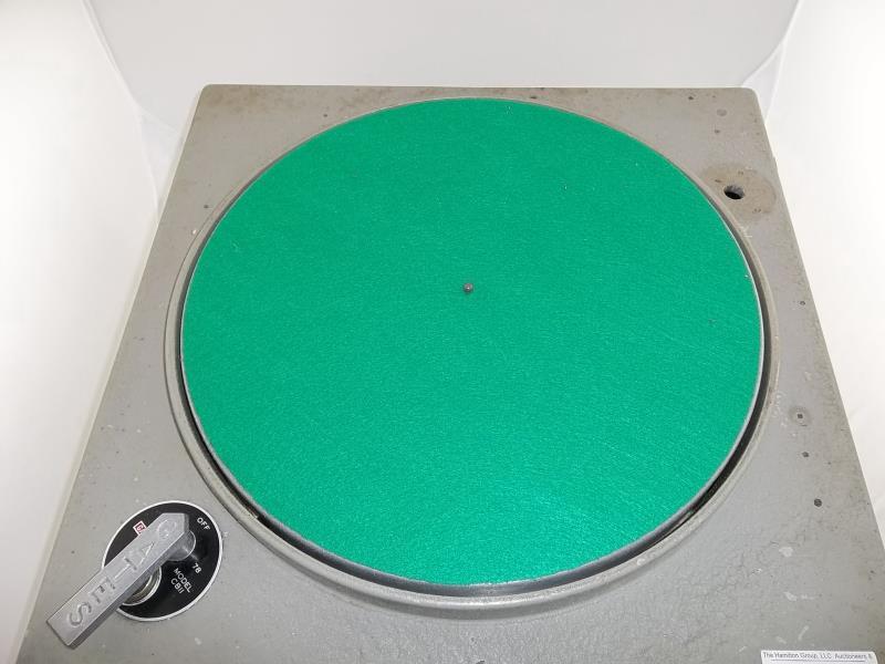 "Lot 563 - Gates turntable, model # CBII, 78, 33 1/3,flt mat, 17"" diameter, no arm, in homemade wooden"