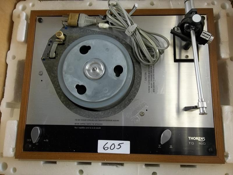 Lot 605 - Thorens TD 160 turn table, no turntable, no mat, no head, in Thorens box, #224707, made in