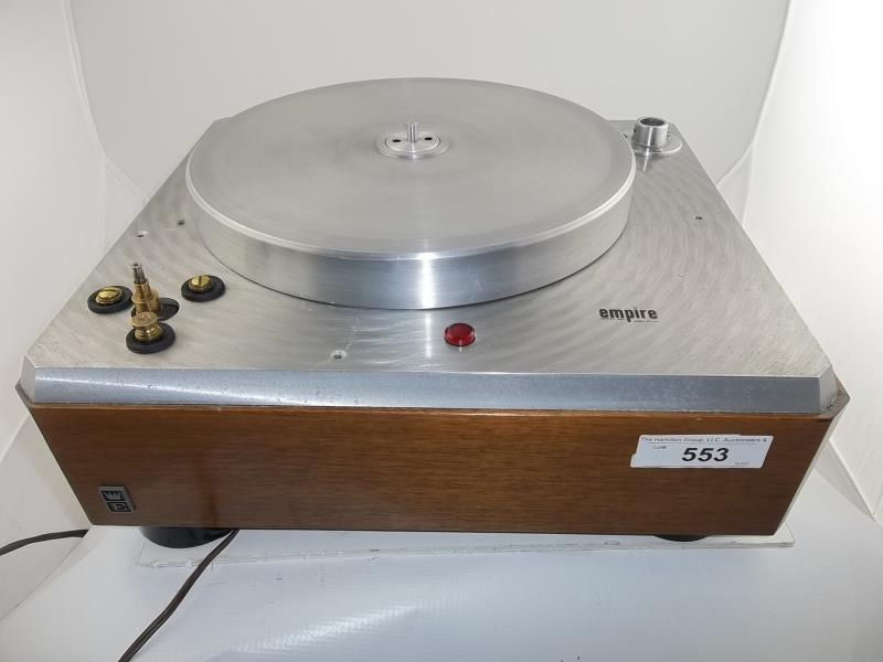 Lot 553 - Empire turntable, brushed silver finish, no arm, no corner plate, no mat, #G484214