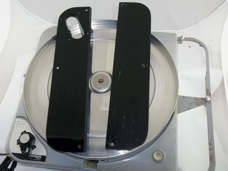 Lot 595 - Thorens TD 124/11 #75138, made in Switzerland, 16, 33, 45, 78, with 2 arm boards, not attached, in