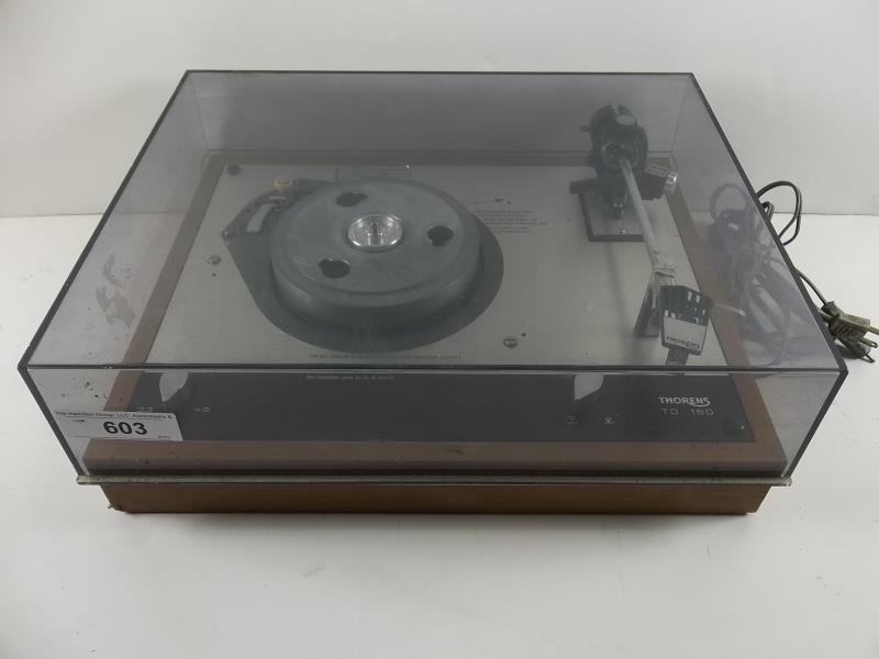 Lot 603 - Thorens TD-160 turntable with a Thorens arm, no turntable, no mat, with dust cover, #128756, made in