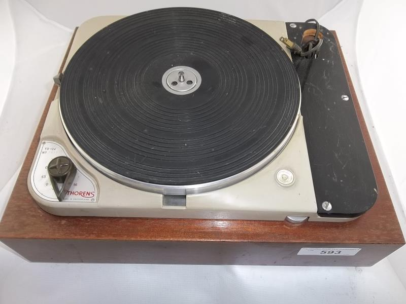 Lot 593 - Thorens TD 124 turntable, # 7537, no arm, made in Switzerland, 16, 33, 45 or 78