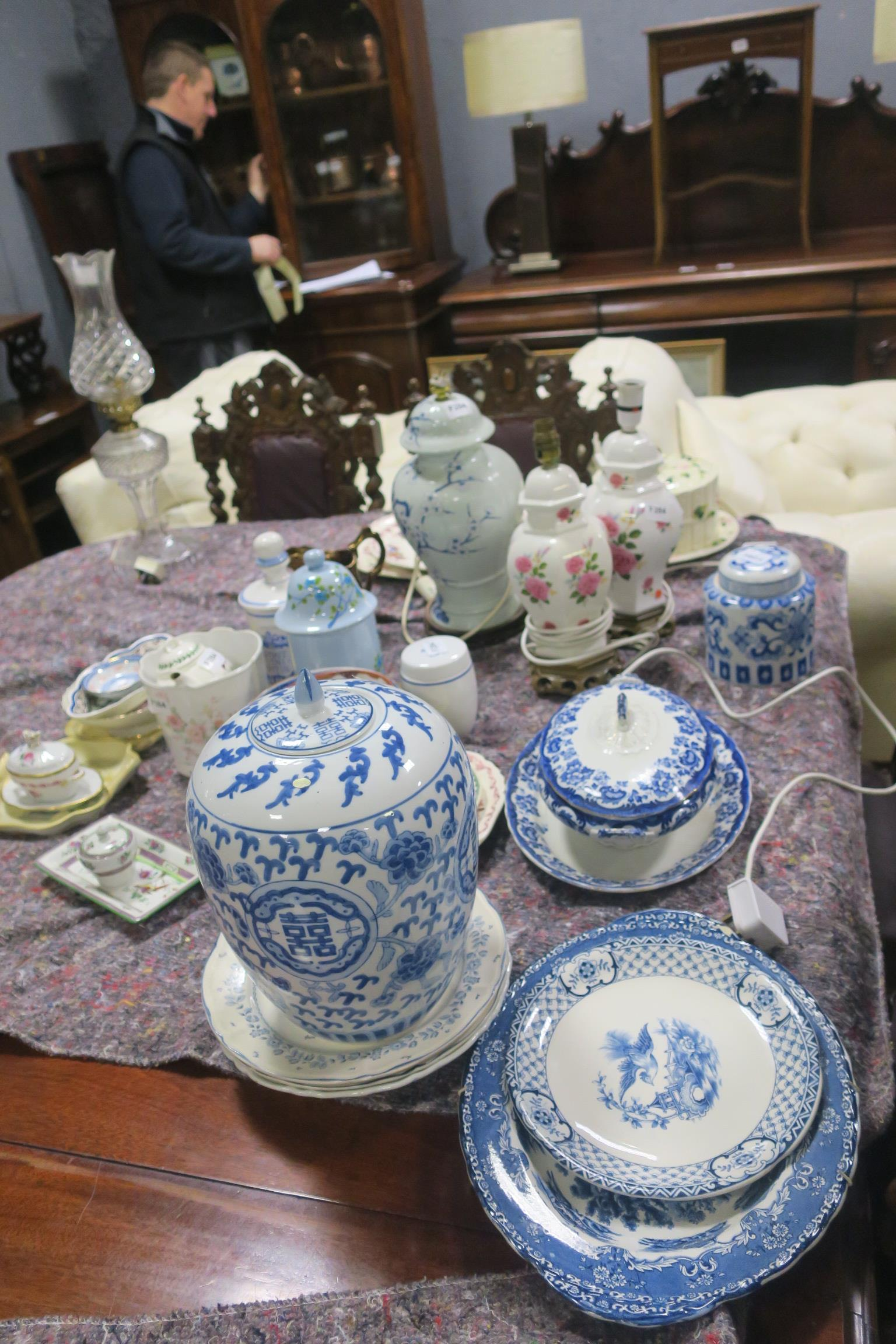 Lot 145 - A COLLECTION OF CHINA, to include Mason's Ironstone platters, lustre jug, blue and white lidded jar,