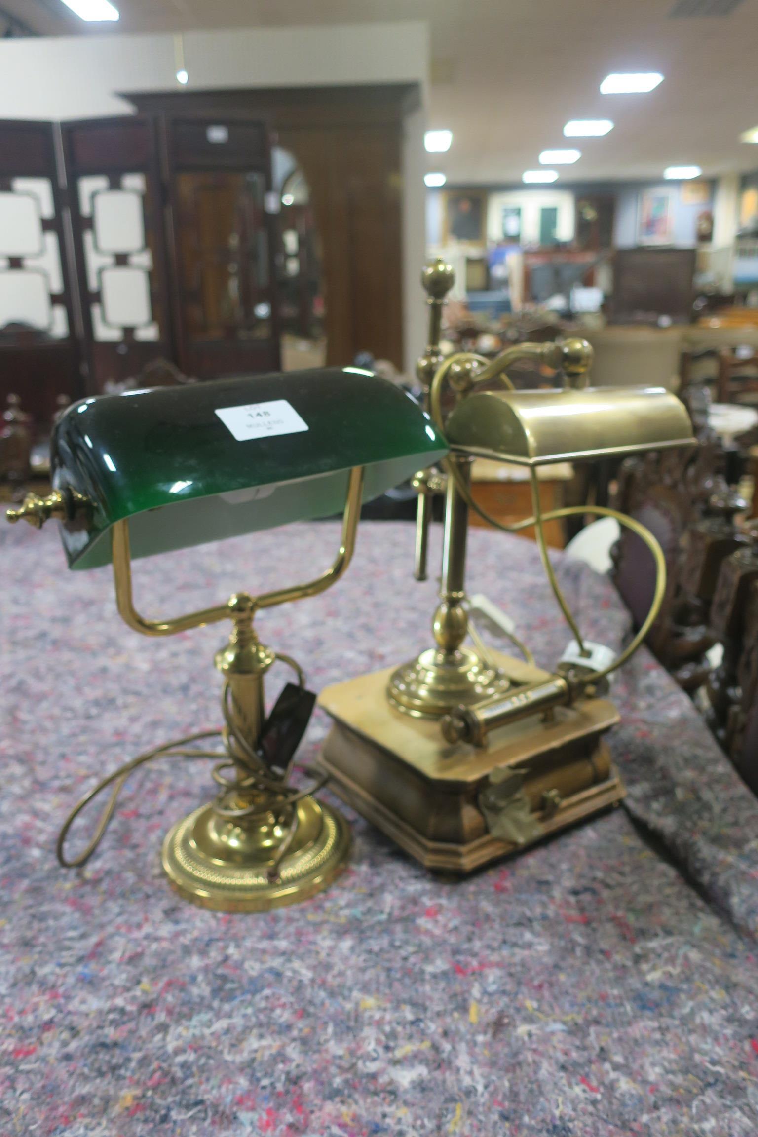 Lot 148 - TWO BRASS DESK LAMPS,