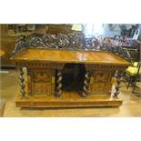 A VERY FINE CONTINENTAL WALNUT MAHOGANY AND YEW WOOD CROSS BANDED SIDEBOARD of rectangular outline