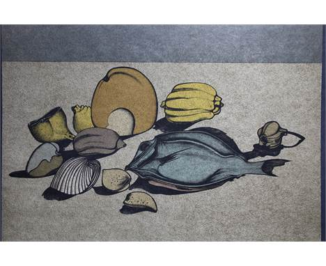 "Mihail Chemiakin (New York, Russia born 1943) ""Nature Morte w/ Fish"" Color Lithograph on Japan paper. Numbered (51/78) lower"