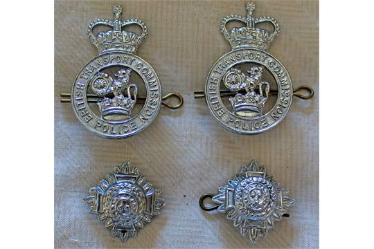 British Transport Police Cap Badges, a pair both retaining rear pins
