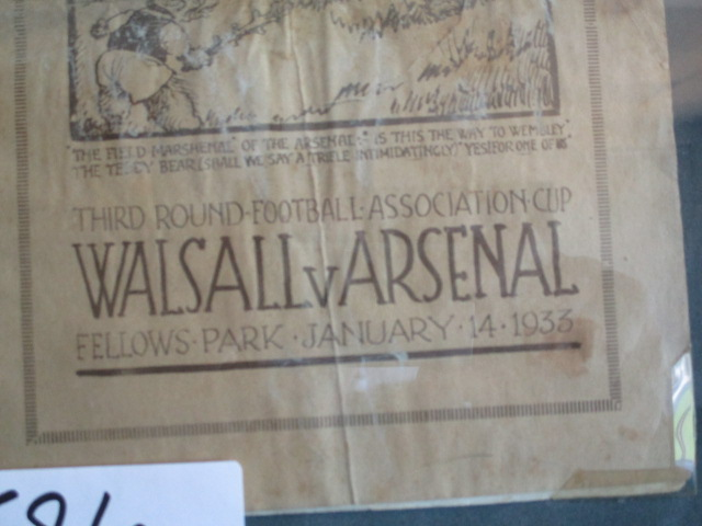 Lot 596 - Walsall vs Arsenal January 14 1933 programme 10in w x 14in hgt ***Note from Auctioneer*** All
