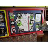 England v Brazil 2002 World Cup signed replica jersey with signed individual photos and pennant,