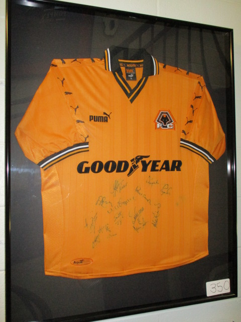 Lot 350 - Wolverhampton Wanderers Collectible Sport Memorabilia Jersey , 32in w x 40in hgt ***Note from