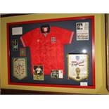 England National Team signed jersey, red No.2 from the 1990 World Cup and pennant for 1990 World Cup