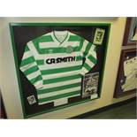 Signed jersey by Celtic 1987/88 team winning the Scottish League and Cup Double,.38in w x 37in hgt