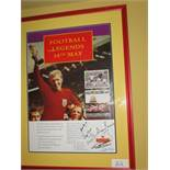"""A Royal Mail promotional poster for the 1996 issue of the """"""""""""""""Football Legends"""""""""""""""" stamps featuring"""