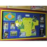 Brazil National team shirt, flag, team and individual photos signed by members of the 2002 World Cup