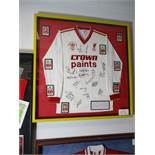Ronnie Whelan No. 5 Liverpool shirt as worn in 1987 Littlewoods Cup Final long sleeve (35in w x 35in