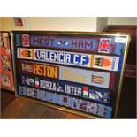 Display of 5 Scaves - West Ham, Valencia, Aston Villa, Inter Milan, Burnley 61-1/2in w x 41-1/2in