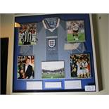 England Euro 96 National Team away jersey signed by Alan Shearer with 5 individual photos, 36in x