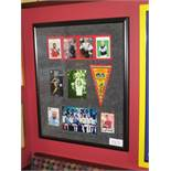 Germany World Cup display and signed photos commemorating World Cup win 1974 30-1/2 w x 37in