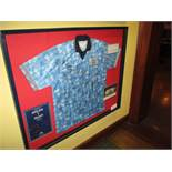 England1992 Blue away replica shirt signed by the England squad after the match against France at