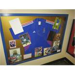 French National Team 1998 World Cup champion signed jersey with 9 individual signed photos, 53in w x