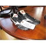 Signed pair of Brazilian World Cup star, Rivaldo's Mizuno Morelia football boots, black with white