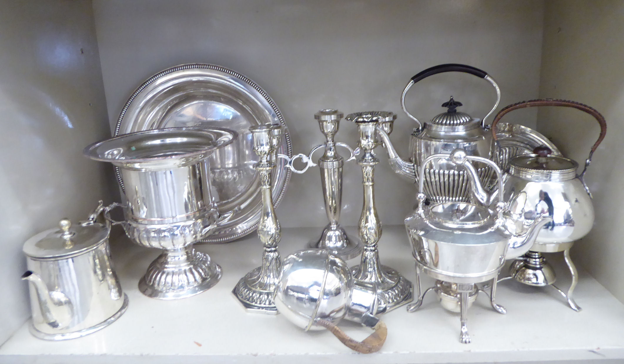 Lot 2 - Silver plated tableware: to include a twin handled pedestal wine cooler 13''h OS3