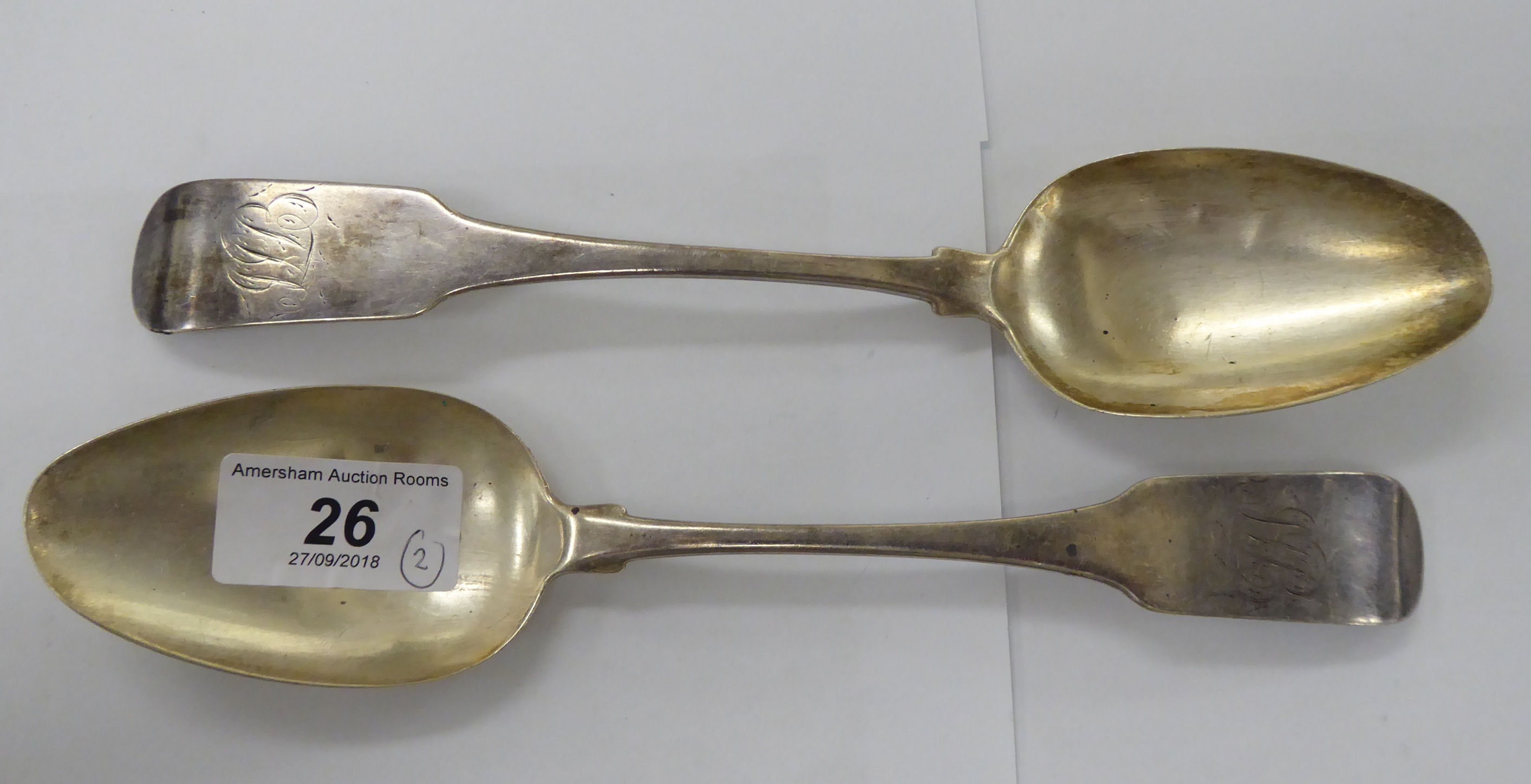Lot 26 - A pair of early 19thC George III Irish silver Old English pattern tablespoons Dublin 1806 11