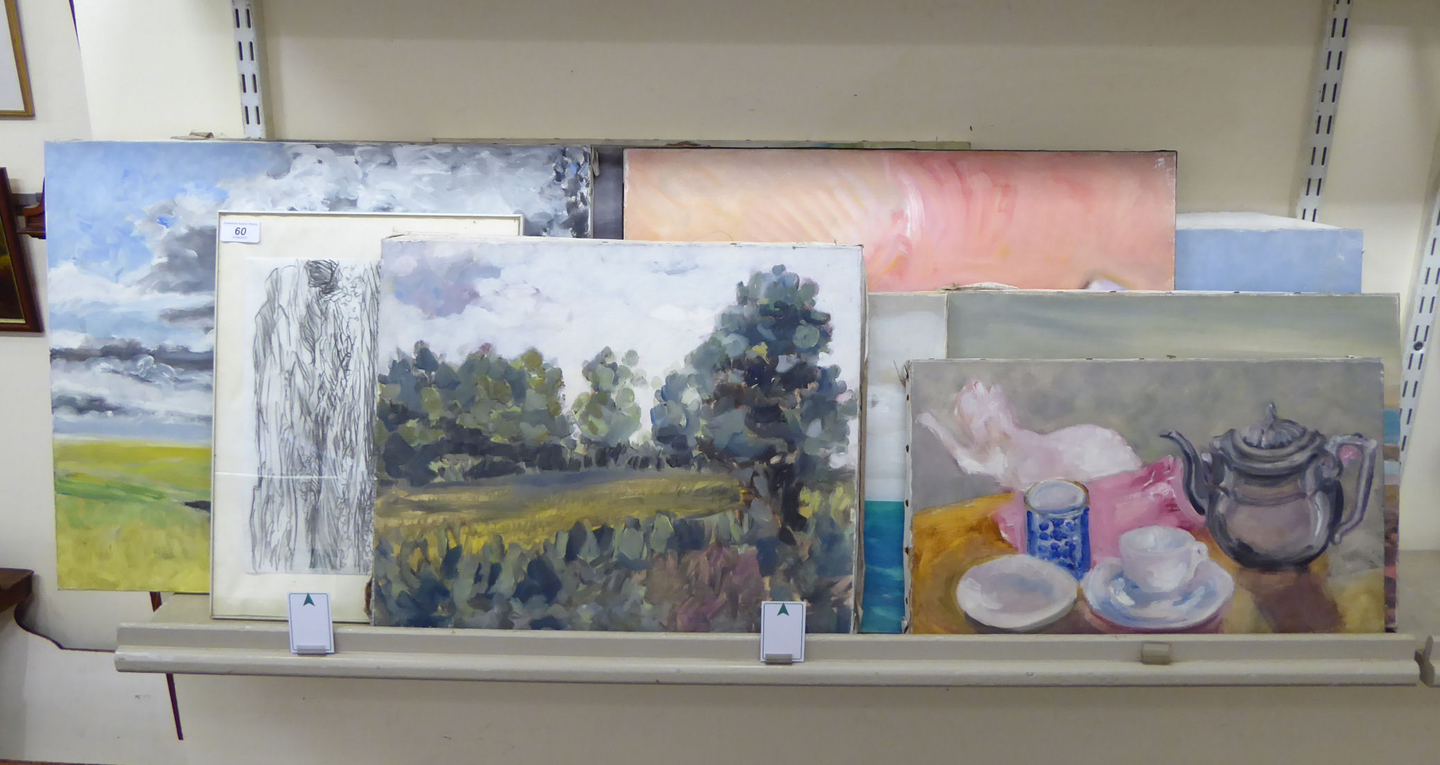Lot 60 - Works by Margaret Harmsworth: to include still life studies oil on canvas bearing signatures