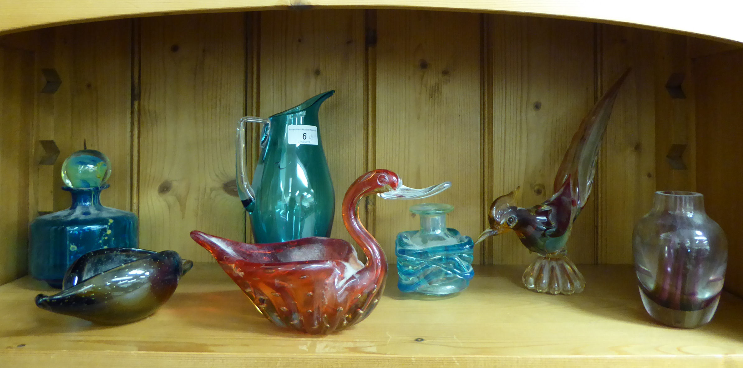 Lot 6 - Art Glass: to include a Mdina scent bottle and stopper of squat,