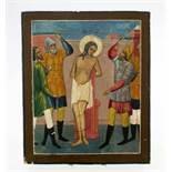 Russische Ikone - 19. Jahrhundert Eitempera auf Kreidegrund. Geiselung Jesus'. Maße: 22 x 26 cm.